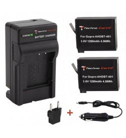 GoPro Hero4 AHDBT-401  Wall Charger and 2 Battery